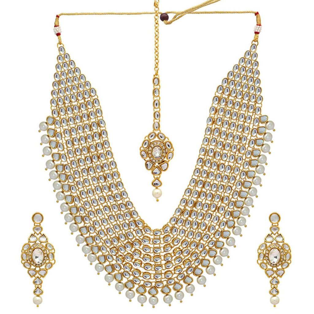Preyans Imitation Pearl Kundan Necklace With Earring & Maang Tikka (KN129)