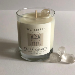 Clear Quartz Crystal Intention Candle