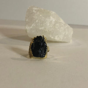 Adjustable Black Tourmaline Ring Gold