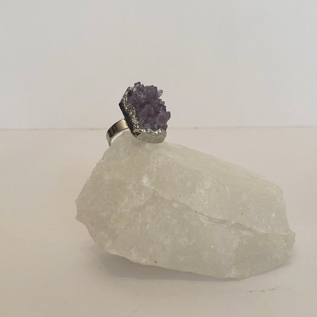 Adjustable Druzy Amethyst Ring Silver