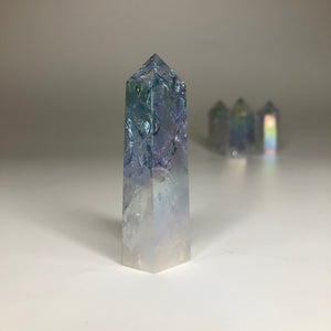 Small Aura Crackle Clear Quartz Tower- Energising, Balancing, Empowering