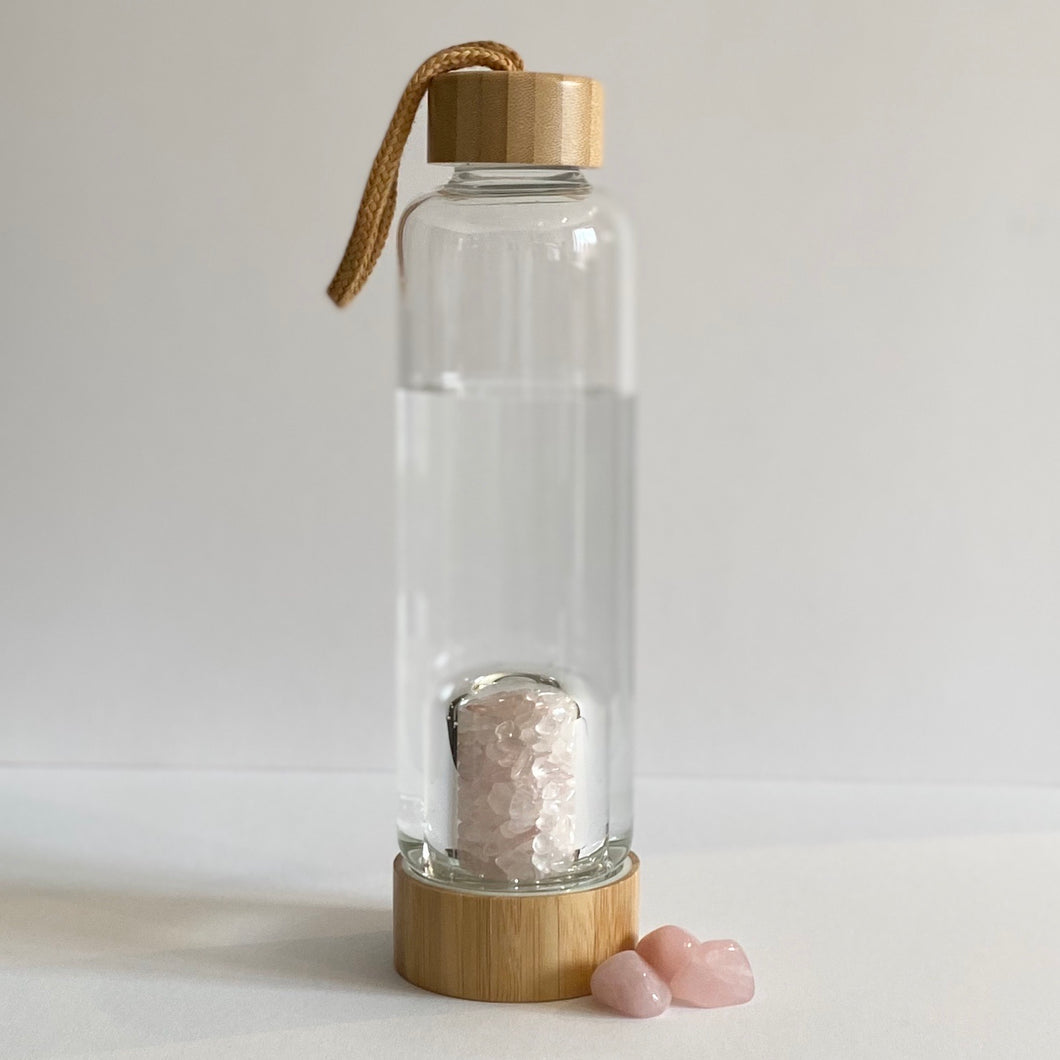 Rose Quartz Glass Water Bottle