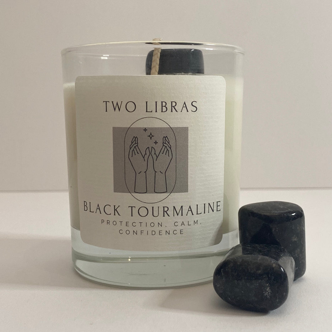 Black Tourmaline Crystal Intention Candle