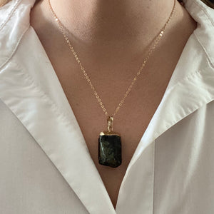 Rough Cut Black Tourmaline Pendent Necklace