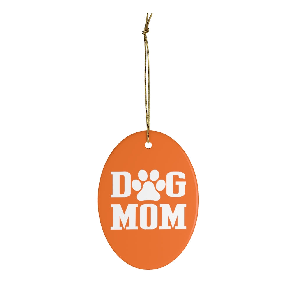 Buy online Premium Quality Dog Mom - Block Text - Ceramic Ornaments - Christmas Tree Decoration - #dogmomtreats - Dog Mom Treats