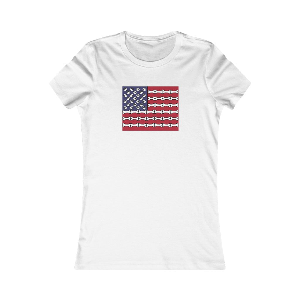 Buy online Premium Quality Dog Bone Stripe American Flag - Women's Favorite Tee - Dog Mom Treats
