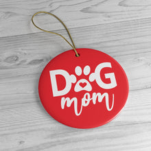 Load image into Gallery viewer, Buy online Premium Quality Dog Mom - Heart in Paw - Ceramic Ornaments - Christmas Tree Decoration - #dogmomtreats - Dog Mom Treats
