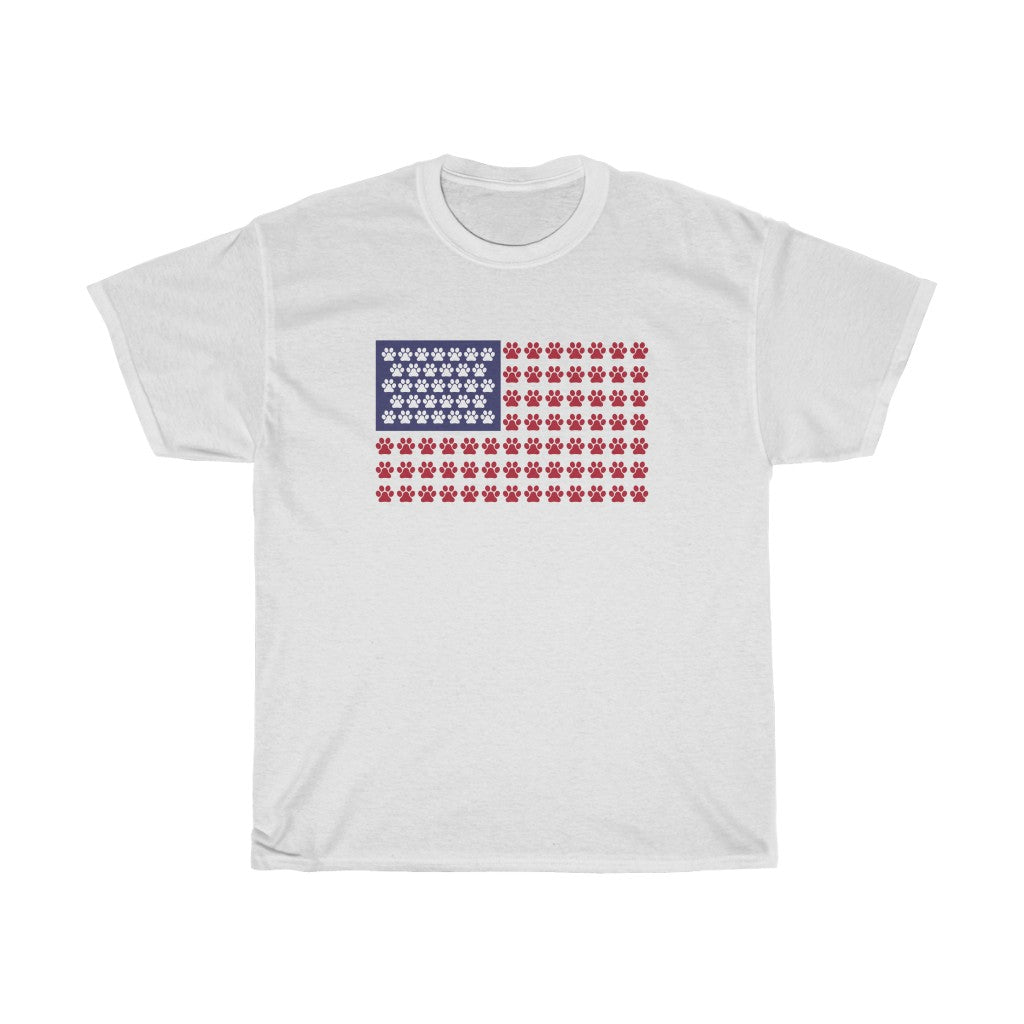 Buy online Premium Quality Paws Up American Flag - Unisex Heavy Cotton Tee - Dog Mom Treats
