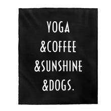 Load image into Gallery viewer, Buy online Premium Quality Yoga Coffee Sunshine and Dogs - Velveteen Plush Blanket - Dog Mom Treats