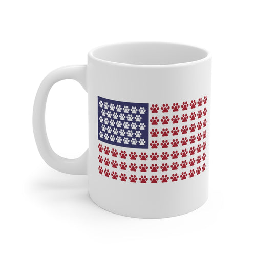 Buy online Premium Quality Paw Print American Flag - Mug 11oz - Dog Mom Treats