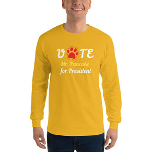 Buy online Premium Quality VOTE For President Custom Shirt With Your Dog's Name - Red Paw - Men's Long Sleeve Shirt - Dog Mom Treats