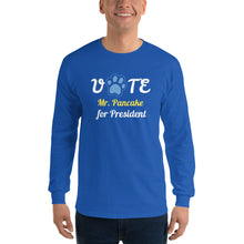 Load image into Gallery viewer, Buy online Premium Quality Vote for Dog for President - Personalize with Your Dog Name - Blue Paw - Men's Long Sleeve Shirt - Dog Mom Treats