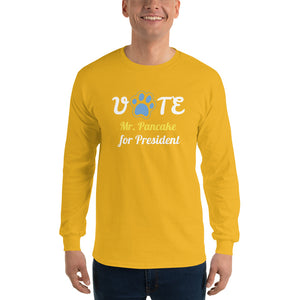Buy online Premium Quality Vote for Dog for President - Personalize with Your Dog Name - Blue Paw - Men's Long Sleeve Shirt - Dog Mom Treats