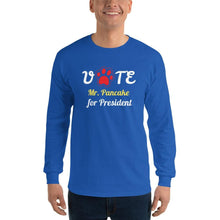 Load image into Gallery viewer, Buy online Premium Quality VOTE For President Custom Shirt With Your Dog's Name - Red Paw - Men's Long Sleeve Shirt - Dog Mom Treats