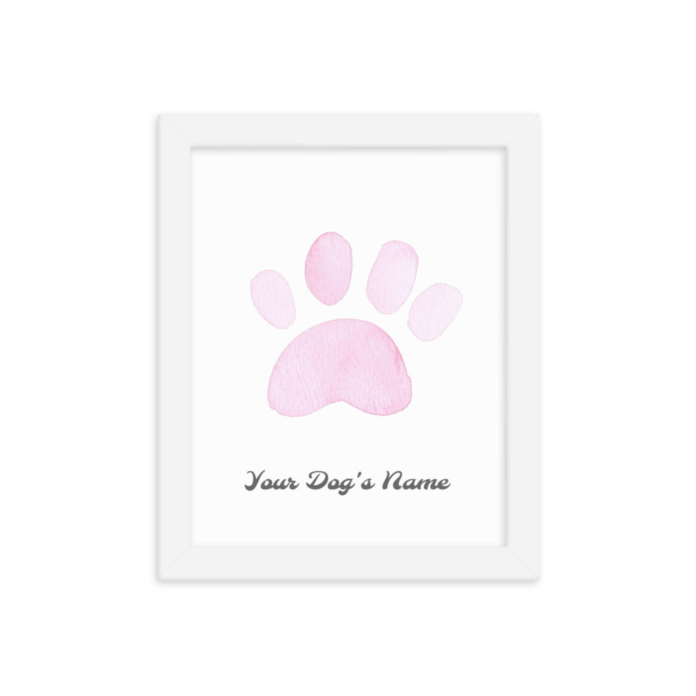 Buy online Premium Quality Personalized Dog Paw Frame - Framed photo paper poster - Pink - Dog Mom Treats