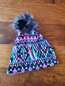 Geometric Aztec Stretch Knit Pom Pom Hat