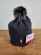 Load image into Gallery viewer, Solid Black Stretch Knit Pom Pom Hat