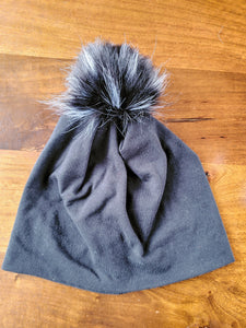 Solid Black Stretch Knit Pom Pom Hat