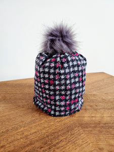 Black and white houndstooth with pink check Stretch Knit Pom Pom Hat