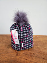 Load image into Gallery viewer, Black and white houndstooth with pink check Stretch Knit Pom Pom Hat