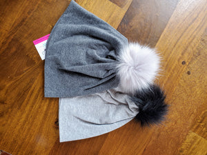 Dark Grey Stretch Knit Pom Pom Hat