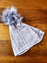 Load image into Gallery viewer, Grey Road Rash Stretch Knit Pom Pom Hat