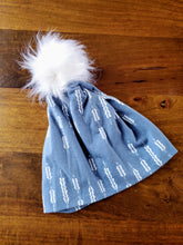 Load image into Gallery viewer, Steel Grey with modern white arrows Stretch Knit Pom Pom Hat