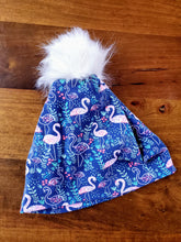 Load image into Gallery viewer, Navy with pink flamingos Stretch Knit Pom Pom Hat
