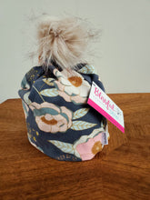 Load image into Gallery viewer, Steel Grey with light green and rose pink flowers Stretch Knit Pom Pom Hat