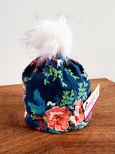 Load image into Gallery viewer, Navy with apricot peonies Stretch Knit Pom Pom Hat