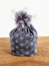 Load image into Gallery viewer, Dark Grey with white circle bursts Stretch Knit Pom Pom Hat