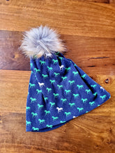 Load image into Gallery viewer, Navy with green horses Stretch Knit Pom Pom Hat