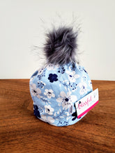 Load image into Gallery viewer, Light blue with white floral Stretch Knit Pom Pom Hat