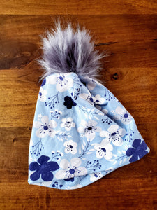 Light blue with white floral Stretch Knit Pom Pom Hat