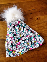 Load image into Gallery viewer, Geometric Triangles Stretch Knit Pom Pom Hat
