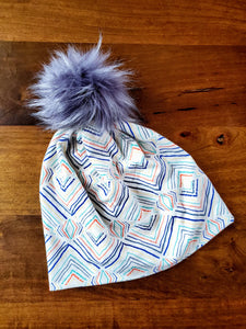 Cream multi color neutrals Stretch Knit Pom Pom Hat