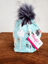 Load image into Gallery viewer, Robins Egg Blue with Grey Birch scene Stretch Knit Pom Pom Hat