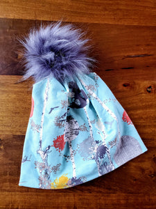 Robins Egg Blue with Grey Birch scene Stretch Knit Pom Pom Hat