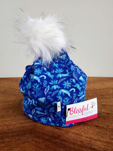 Ocean Blue Forest Stretch Knit Pom Pom Hat