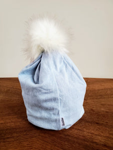Pale Blue Denim Stretch Knit Pom Pom Hat