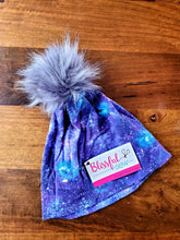 Load image into Gallery viewer, Purple Galaxy Stretch Knit Pom Pom Hat