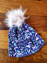 Load image into Gallery viewer, Navy with pink unicorn and bunnies Stretch Knit Pom Pom Hat