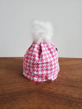 Load image into Gallery viewer, Pink white houndstooth Stretch Knit Pom Pom Hat