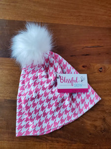 Pink white houndstooth Stretch Knit Pom Pom Hat