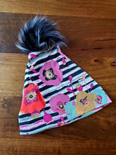 Load image into Gallery viewer, Striped Floral Stretch Knit Pom Pom Hat