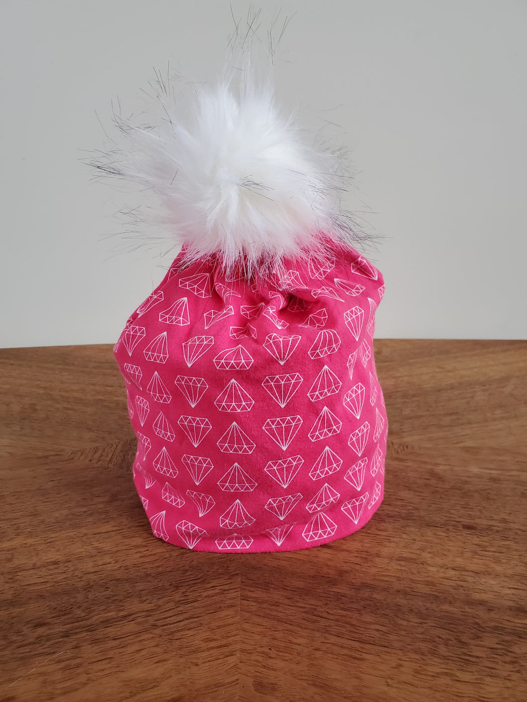 Pink Diamonds Stretch Knit Pom Pom Hat