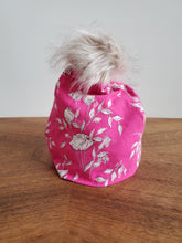 Load image into Gallery viewer, Hot and Pale Pink flowers Stretch Knit Pom Pom Hat