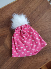 Load image into Gallery viewer, Pink Horses Stretch Knit Pom Pom Hat