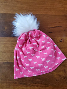Pink Horses Stretch Knit Pom Pom Hat