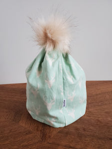 Mint Green stag Stretch Knit Pom Pom Hat